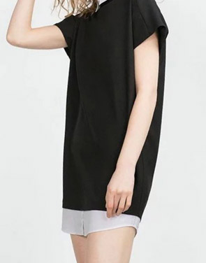 photo Classic Color Block Turn Down Collar Loose Fit Dress by OASAP, color Black White - Image 2