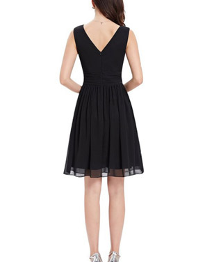 photo Classic Double V-Neck Ruched Waist Short Cocktail Party Dress by OASAP - Image 2