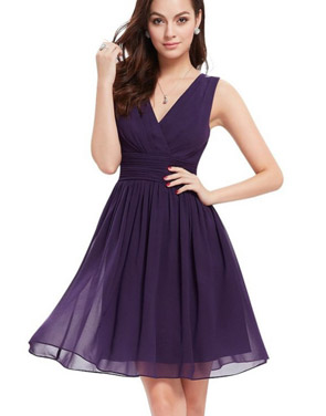 photo Classic Double V-Neck Ruched Waist Short Cocktail Party Dress by OASAP - Image 11