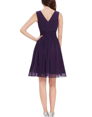 photo Classic Double V-Neck Ruched Waist Short Cocktail Party Dress by OASAP - Image 12