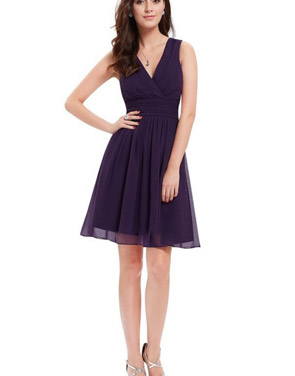 photo Classic Double V-Neck Ruched Waist Short Cocktail Party Dress by OASAP - Image 13