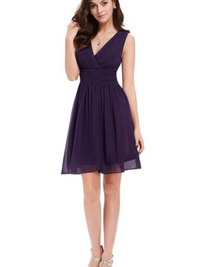 photo Classic Double V-Neck Ruched Waist Short Cocktail Party Dress by OASAP - Image 14