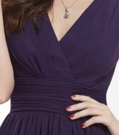 photo Classic Double V-Neck Ruched Waist Short Cocktail Party Dress by OASAP - Image 15