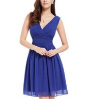 photo Classic Double V-Neck Ruched Waist Short Cocktail Party Dress by OASAP - Image 16
