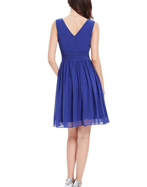 photo Classic Double V-Neck Ruched Waist Short Cocktail Party Dress by OASAP - Image 17