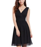 photo Classic Double V-Neck Ruched Waist Short Cocktail Party Dress by OASAP - Image 1
