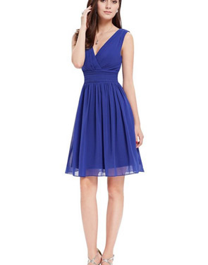 photo Classic Double V-Neck Ruched Waist Short Cocktail Party Dress by OASAP - Image 19