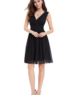 photo Classic Double V-Neck Ruched Waist Short Cocktail Party Dress by OASAP - Image 3