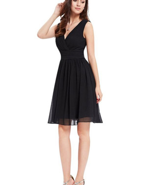photo Classic Double V-Neck Ruched Waist Short Cocktail Party Dress by OASAP - Image 4