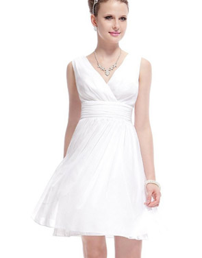 photo Classic Double V-Neck Ruched Waist Short Cocktail Party Dress by OASAP - Image 6