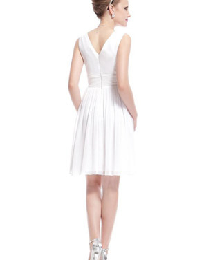 photo Classic Double V-Neck Ruched Waist Short Cocktail Party Dress by OASAP - Image 7