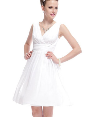 photo Classic Double V-Neck Ruched Waist Short Cocktail Party Dress by OASAP - Image 8