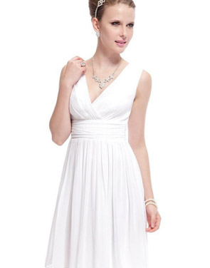 photo Classic Double V-Neck Ruched Waist Short Cocktail Party Dress by OASAP - Image 9