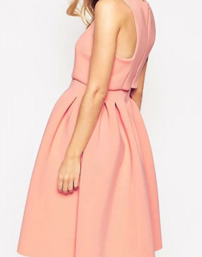 photo Classic Round Neck Sleeveless Pleated A-line Dress by OASAP - Image 2