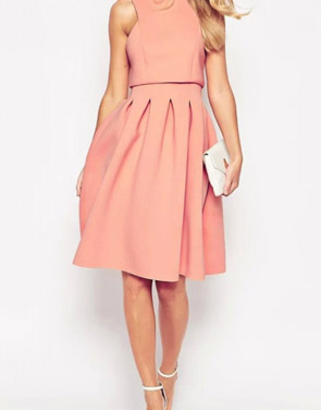 photo Classic Round Neck Sleeveless Pleated A-line Dress by OASAP - Image 1