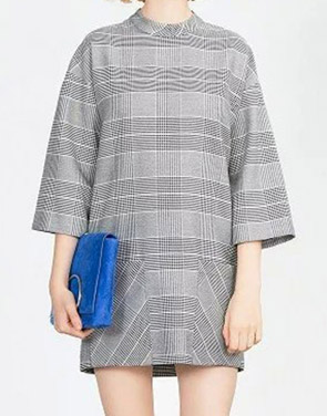 photo Color Block Houndstooth Print Patch Pocket Shift Dress by OASAP, color Multi - Image 1