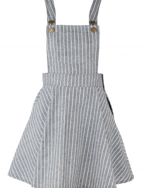 photo Color Block Striped Adjustable Shoulder Straps Overall Dress by OASAP, color Grey - Image 1
