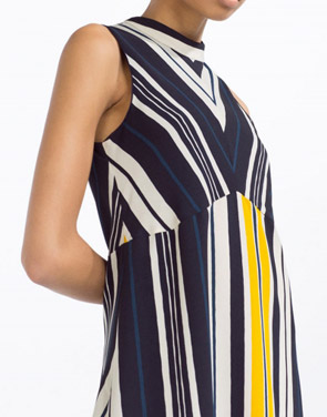 photo Color Block Striped Mock Neck Sleeveless A-line Dress by OASAP, color Multi - Image 2