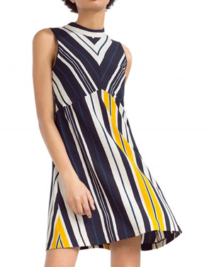 photo Color Block Striped Mock Neck Sleeveless A-line Dress by OASAP, color Multi - Image 1