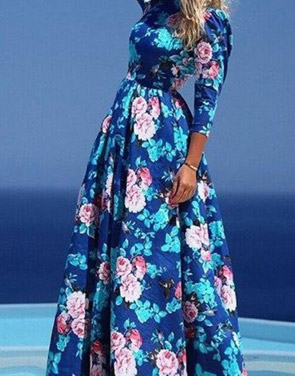 photo Dazzling Floral Print Pleated Maxi Dress by OASAP, color Blue - Image 1