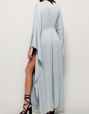 photo Deep V-Neck Drawstring Wasit Batwing Sleeve Asymmetric Dress by OASAP - Image 2