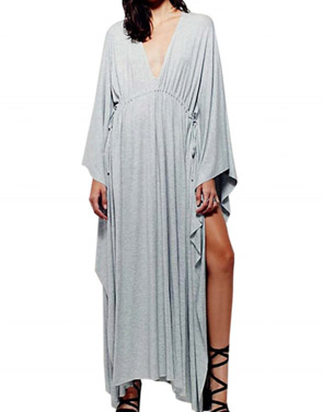 photo Deep V-Neck Drawstring Wasit Batwing Sleeve Asymmetric Dress by OASAP - Image 1