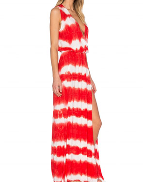photo Deep V-Neck High Slit Printed Maxi Boho Dress by OASAP, color Red - Image 2