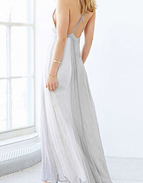 photo Deep V-Neck Spaghetti Strap Backless Maxi Evening Dress by OASAP, color White Grey - Image 2