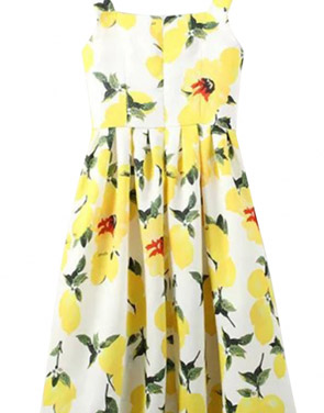 photo Delightful Floral Print Button Pleated Swing Midi Dress by OASAP, color Yellow - Image 2