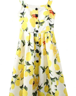 photo Delightful Floral Print Button Pleated Swing Midi Dress by OASAP, color Yellow - Image 1