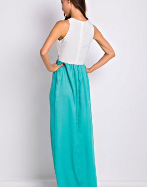 photo Desirable Color Block Sleeveless Maxi Dress by OASAP, color White Green - Image 2