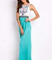 photo Desirable Color Block Sleeveless Maxi Dress by OASAP, color White Green - Image 3