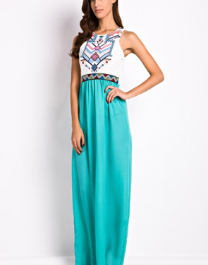 photo Desirable Color Block Sleeveless Maxi Dress by OASAP, color White Green - Image 4