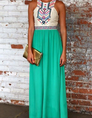 photo Desirable Color Block Sleeveless Maxi Dress by OASAP, color White Green - Image 5