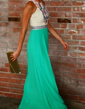 photo Desirable Color Block Sleeveless Maxi Dress by OASAP, color White Green - Image 6