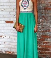 photo Desirable Color Block Sleeveless Maxi Dress by OASAP, color White Green - Image 8