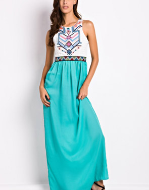 photo Desirable Color Block Sleeveless Maxi Dress by OASAP, color White Green - Image 1