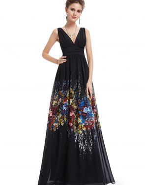 photo Double V-Neck Sleeveless Maxi Evening Bridesmaid Prom Dress by OASAP, color Black - Image 1