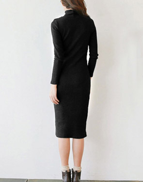 photo Elegant Black Mock Neck Ribbed Knit Bodycon Dress by OASAP, color Black - Image 2