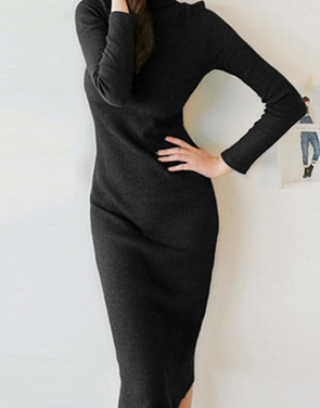 photo Elegant Black Mock Neck Ribbed Knit Bodycon Dress by OASAP, color Black - Image 1