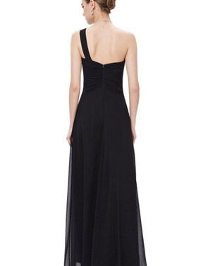 photo Elegant One Shoulder Slitted Ruched Evening Dress by OASAP - Image 2