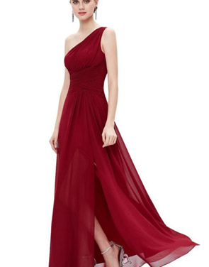 photo Elegant One Shoulder Slitted Ruched Evening Dress by OASAP - Image 11