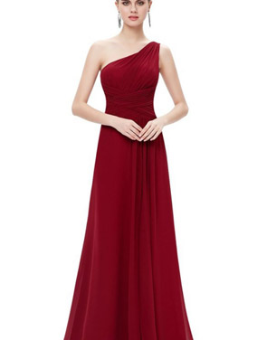 photo Elegant One Shoulder Slitted Ruched Evening Dress by OASAP - Image 12