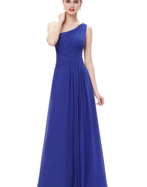 photo Elegant One Shoulder Slitted Ruched Evening Dress by OASAP - Image 14