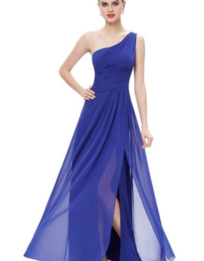 photo Elegant One Shoulder Slitted Ruched Evening Dress by OASAP - Image 15
