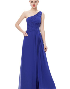 photo Elegant One Shoulder Slitted Ruched Evening Dress by OASAP - Image 16
