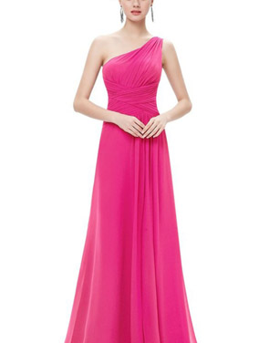photo Elegant One Shoulder Slitted Ruched Evening Dress by OASAP - Image 18