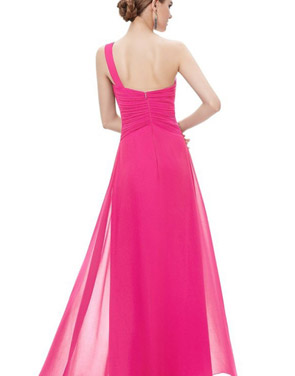 photo Elegant One Shoulder Slitted Ruched Evening Dress by OASAP - Image 19
