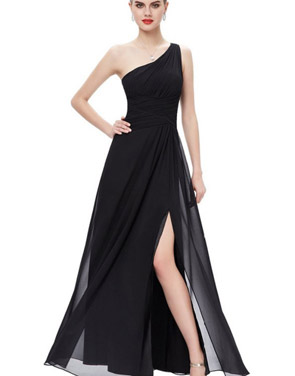 photo Elegant One Shoulder Slitted Ruched Evening Dress by OASAP - Image 3