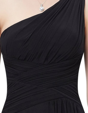 photo Elegant One Shoulder Slitted Ruched Evening Dress by OASAP - Image 4